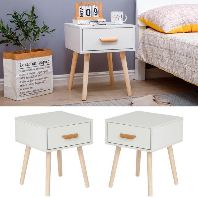 Jeobest Lot de 2 Table de chevet,table d'appoint table basse de lit - 40 x 40 x 50 cm - Blanc - avec tiroir coulissant