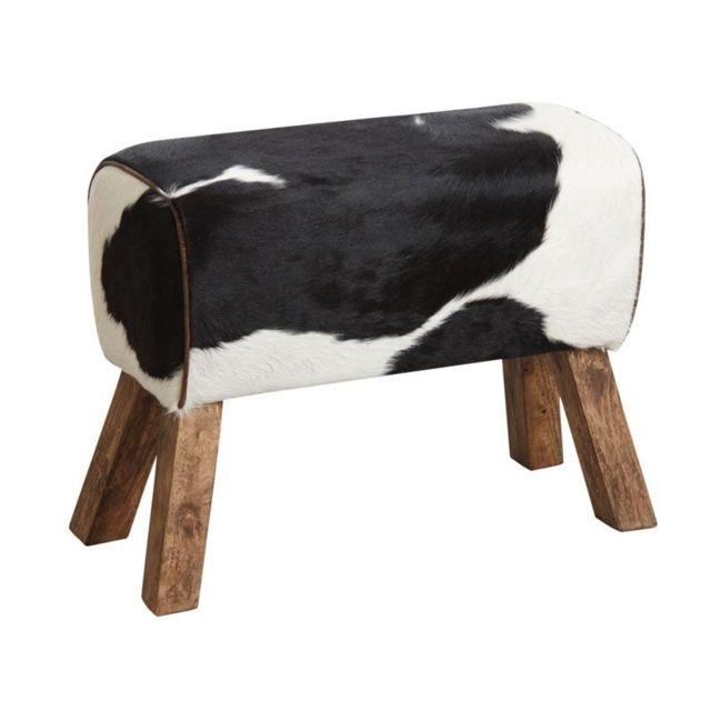 AUBRY GASPARD Tabouret en peau de vache