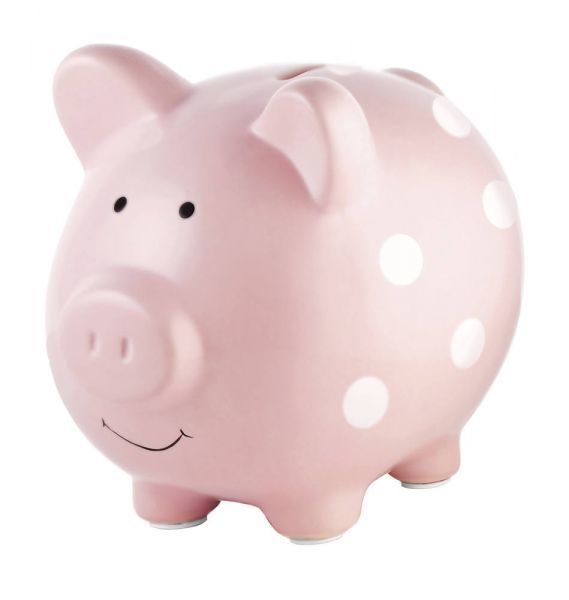 Pearhead Ceramic Piggy Bank - Large - Rose à pois