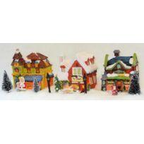 No Name - Décoration de table - Village de Noël illuminé - 3 maisons - 11 pièces avec guirlande électrique
