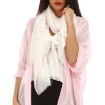 LAMODEUSE - Foulard blanc flamants roses. 7€99. Foulard blanc et rose à  coeurs fcb6256ceff