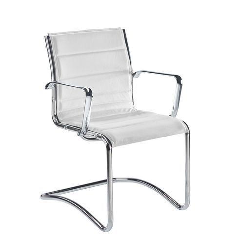 Fauteuil visiteur Sky Rete cuir blanc - Dossier H 40 cm
