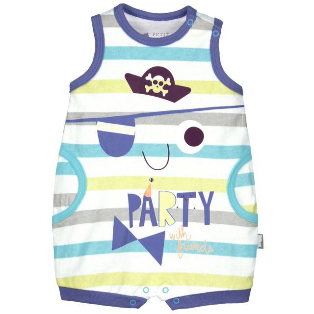 01de9e4d549a7 Petit Beguin - Barboteuse débardeur bébé garçon Friends Party - Couleur -  Multicolore