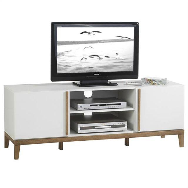 IDIMEX Meuble banc TV vintage RIGA MDF blanc et bois