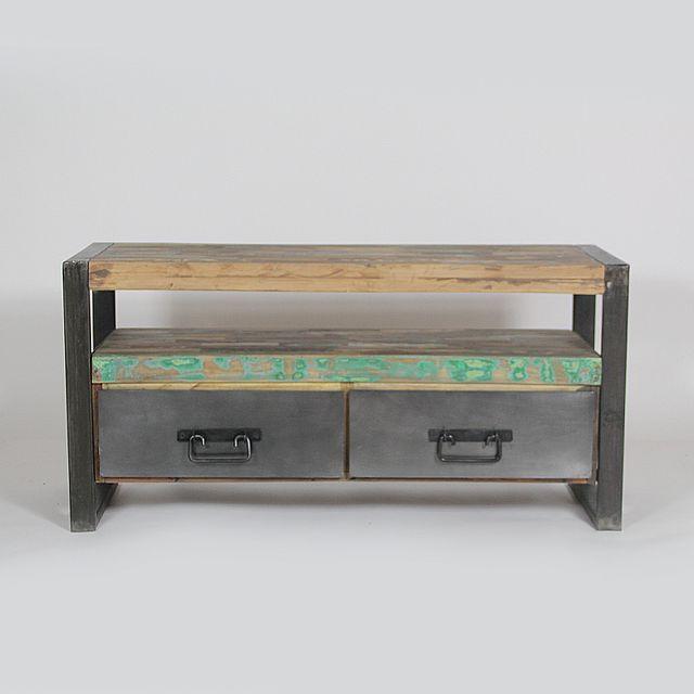 Made In Meubles - Meuble Tv industriel 2 tiroirs bois et métal ...