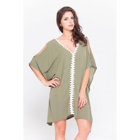 d2e4d6935791f Princesse Boutique - Robe oversize kaki ornée de pompons - pas cher ...