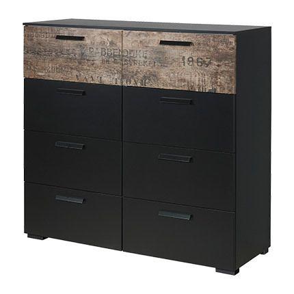 commode 8 tiroirs noir et marron sebpeche31. Black Bedroom Furniture Sets. Home Design Ideas