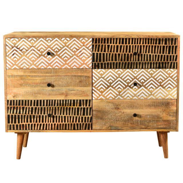 Rendez Vous Deco Commode Tali en bois 6 tiroirs