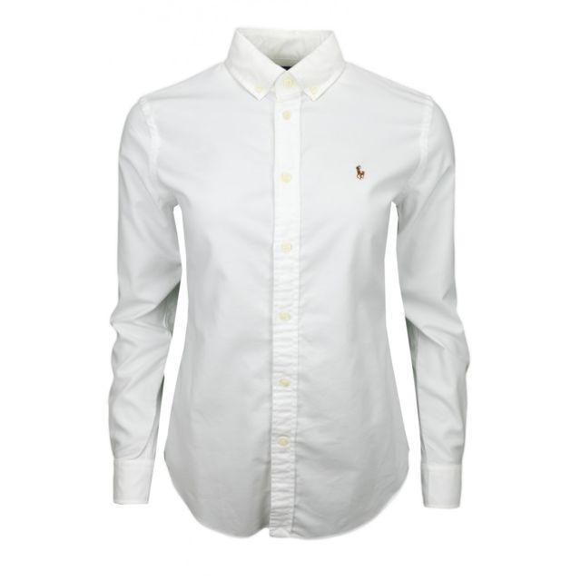 Ralph Lauren - Chemise Oxford blanche pour femme - pas cher Achat   Vente Chemise  femme - RueDuCommerce a4127645fb78