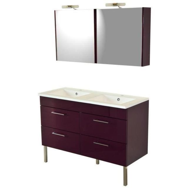 Salle De Bain Complete Rega Salle de bain complete double vasque L 120 cm -  Aubergine brillant