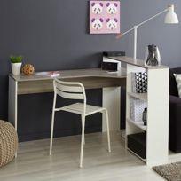 - Bureau - coloris chêne et blanc