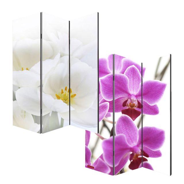 Mendler - Paravent / cloison de séparation M68, 3 pans, 120x180cm, orchidée Multicolore