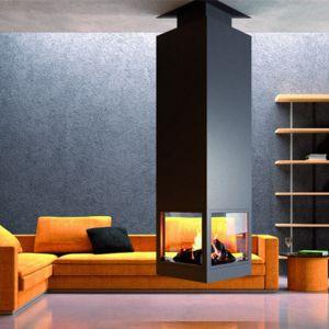 focgrup chemin e ch95 centrale avec porte encadrement anthracite suspendue et foyer acier. Black Bedroom Furniture Sets. Home Design Ideas