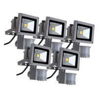 Showlite - Fl-2010B Led Projecteurs Ip65 10 Watt 1100 Lumen avec Détecteur de Mouvement lot de 5