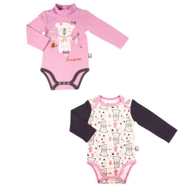 Petit Beguin - Lot de 2 bodies bébé fille manches longues Lovebear - Taille  - 9 0e3358c65c8