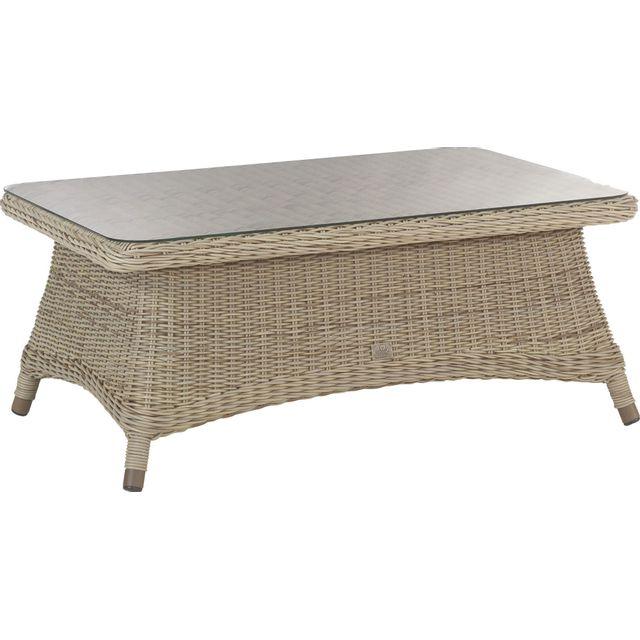 Comforium Table basse de jardin 110x70 cm en résine tressée coloris pure + vitre incluse