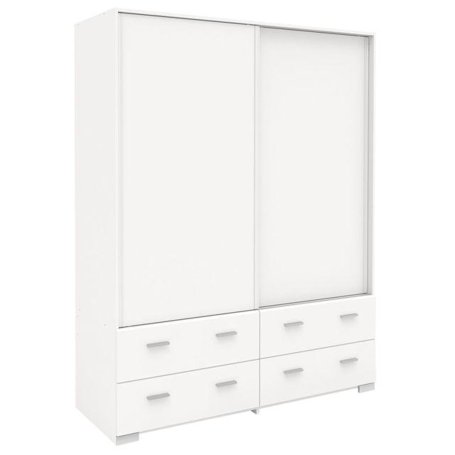 Altobuy jupiter blanc armoire 2 portes coulissantes 4 for 4 portes coulissantes