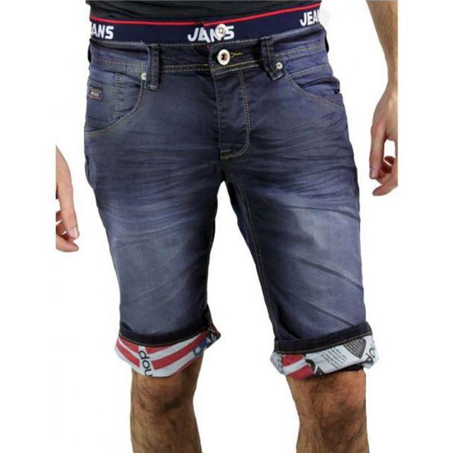 48ede0cd679ec Jaylvis - Pantacourt jeans bleu - Pz-1370 Bleu - pas cher Achat / Vente Short  homme - RueDuCommerce