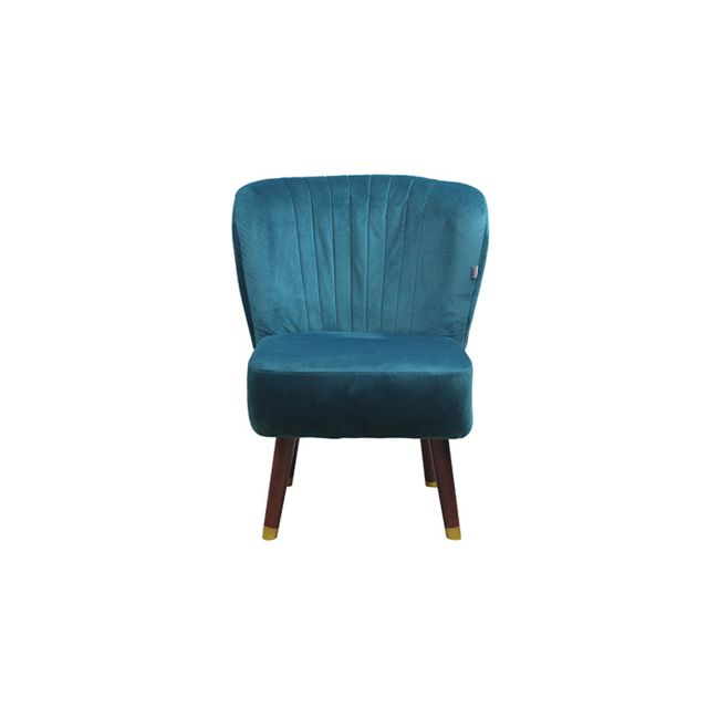House And Garden Fauteuil cocktail velours bleu canard