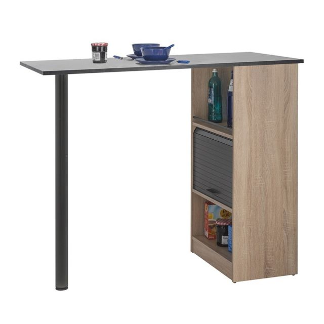 Table comptoir de cuisine Bois/Noir - Faytou
