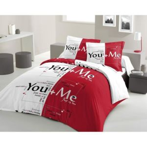 lovely home parure de couette you and me 100 coton 1 housse de couette 240x260 cm 2 taies. Black Bedroom Furniture Sets. Home Design Ideas