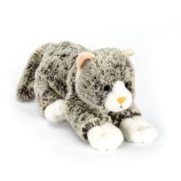 Soft Friends - Peluche Chaton 22 cm couché : Gris chiné