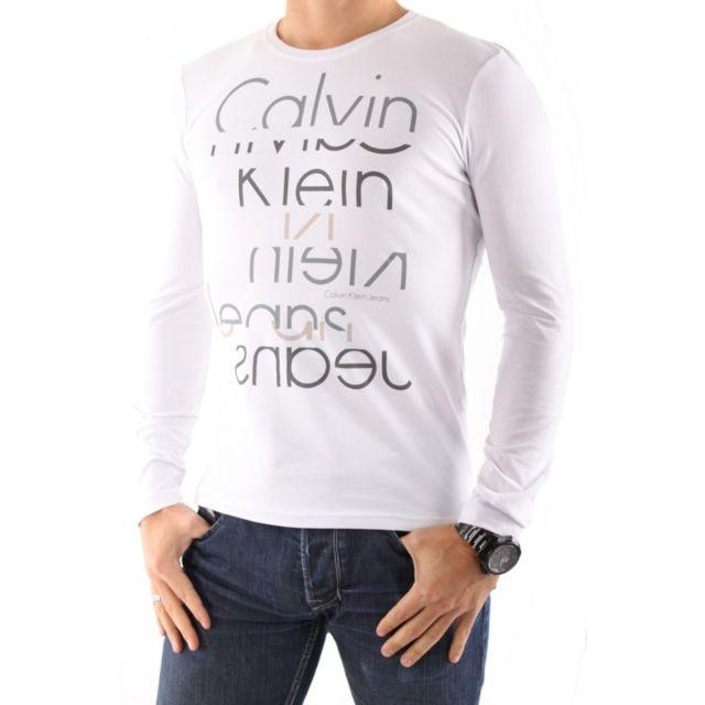 Calvin Klein T Shirt Hommes Manches Longues Cmp78j Blanc Pas