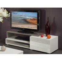 Symbiosis - Meuble Tv 1 tiroir 2 niches en bois L120xP42xH32cm Glossy - Blanc / Taupe