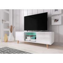 Meuble Tv Sweden 140 Cm Blanc Mat Blanc Brillant Avec Led Style Scandinave