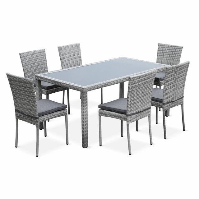 Alices garden salon de jardin en résine tressée 6 chaises nuances gris table dextérieur design