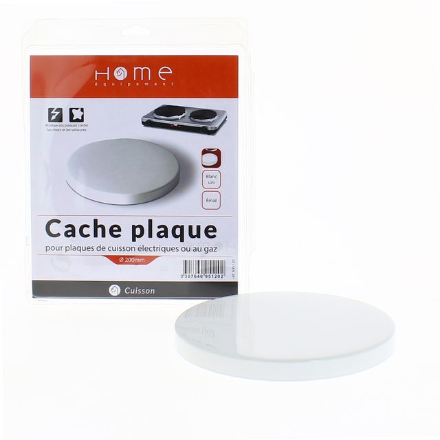 Home Equipement - Cache plaque uni blanc Ø200 mm pour Table de cuisson