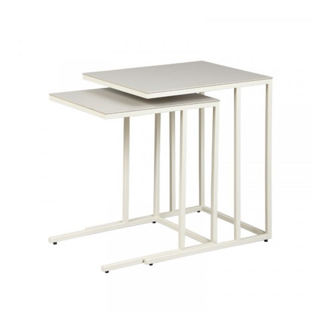Dansmamaison Tables gigognes plateau Céramique Gris clair - Ladas - L 50 x l 40 x H 56 cm