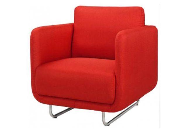 Declikdeco Fauteuil June design rouge pieds metal brossé