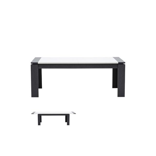 Table rectangulaire 200x100x75cm avec allonge blanc laqué et gris