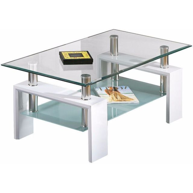 Table Basse Design En Verre.Table Basse Design Verre Et Blanc Diamante