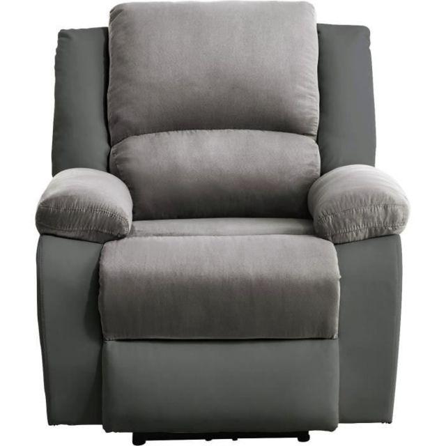 Marque Generique Fauteuil Relax Fauteuil relaxation Electrique - Simili gris et tissu gris - L 88 x P 93 x H 96 cm