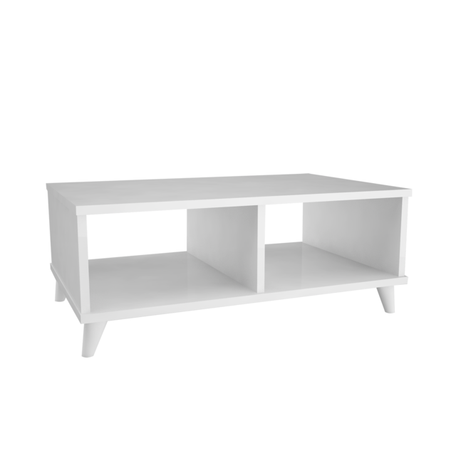 Homemania Table basse design Victoria - L. 80 x H. 35 cm - Blanc