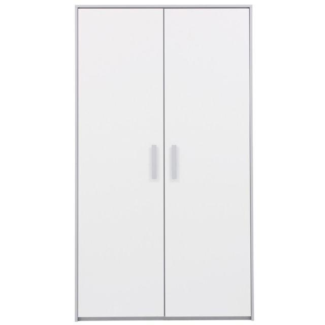 Tousmesmeubles - Armoire 2 portes Blanc/Gris - Jewel 109cm x 192cm x 58cm