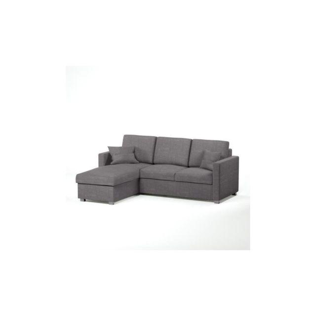 Sans Marque Jules Canape Dangle Reversible Convertible 4 Places + Coffre De Rangement - Tissu Gris - Contemporain - L 220 X P 166 Cm