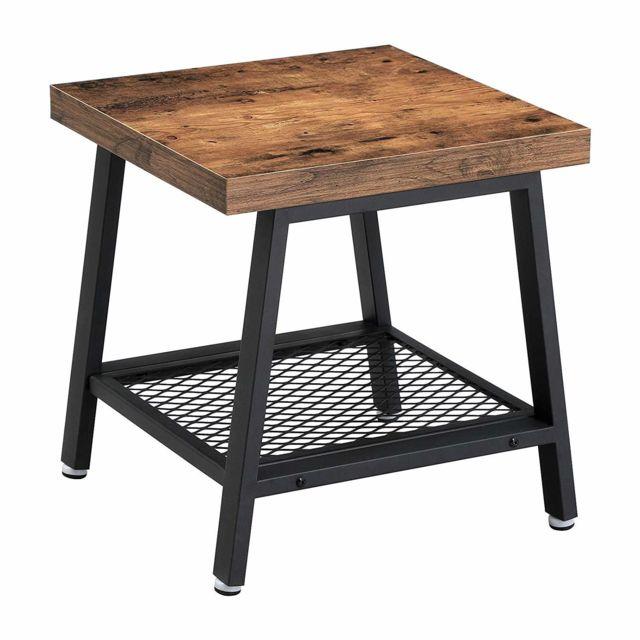 Table Basse, Table d'appoint, Table de Chevet, Bout de canapé, Style  Industriel, Armature métallique, Aspect Bois Vieilli, pour Salon, Chambre,  ...
