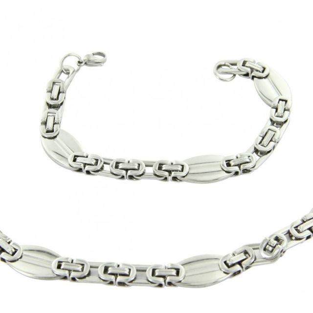 3a31a01a6d1 Sans Marque - Parure en Acier Collier Chaine et Bracelet Homme M H 1153