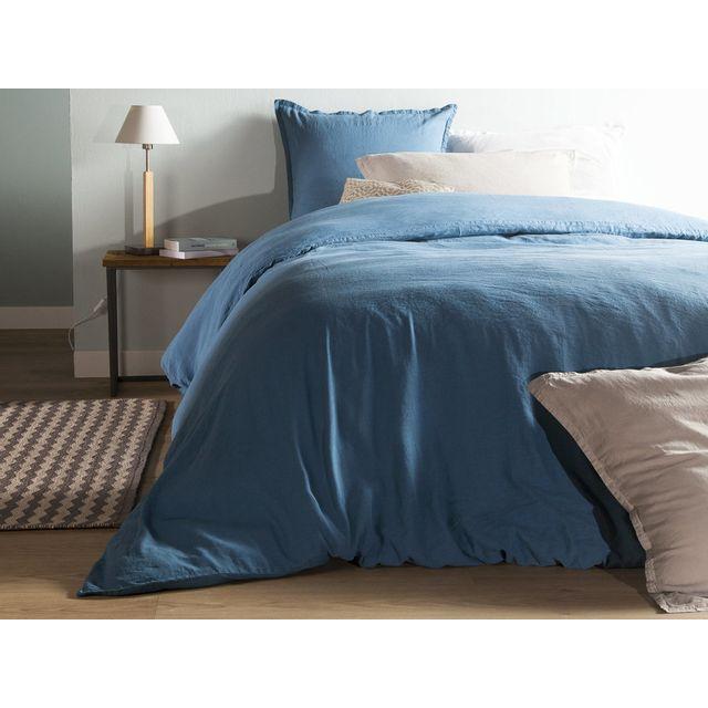 comptoir des toiles housse de couette unie lin et coton lav hortense bleu 140x200cmnc. Black Bedroom Furniture Sets. Home Design Ideas