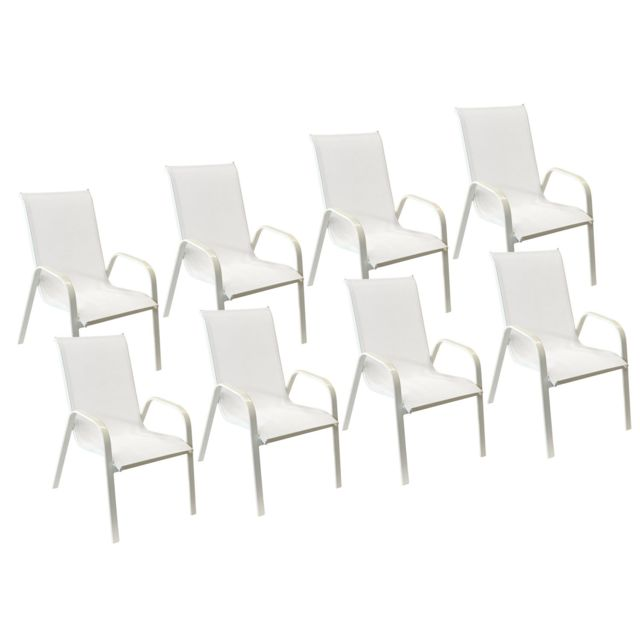 Aluminium Blanc Chaises de table de jardin Happy Garden Lot ...