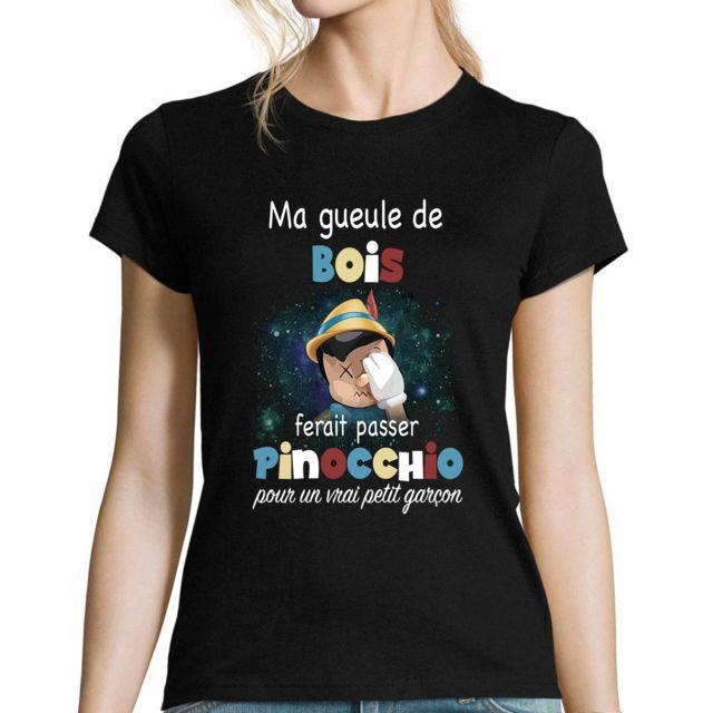 CLOSSET Gueule de Bois Feat Pinocchio | T-shirt Femme col Rond Personnalisé Musique Rap Hip Hop Français M