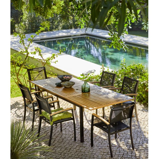 carrefour table de jardin extensible louga noir et bois. Black Bedroom Furniture Sets. Home Design Ideas