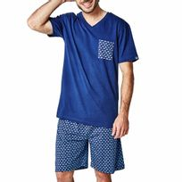 Arthur - Pyjama court Jaws : tee-shirt col V bleu marine à poche et bermuda bleu marine à imprimés requins