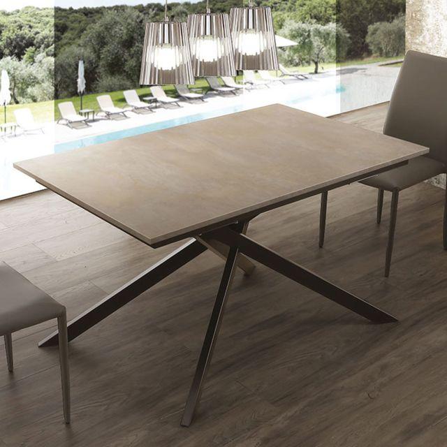 Nouvomeuble Table avec rallonge effet ciment avec pieds noir Aristide