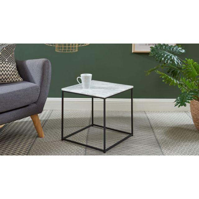 HOMIFAB Table basse carrée 40 cm en marbre blanc et pieds en métal noir - Collection Telma