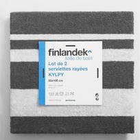 Finlandek - Bain - Finlandek Set de 2 Serviettes de toilette Kylpy 50x100 cm rayures anthracite et blanc