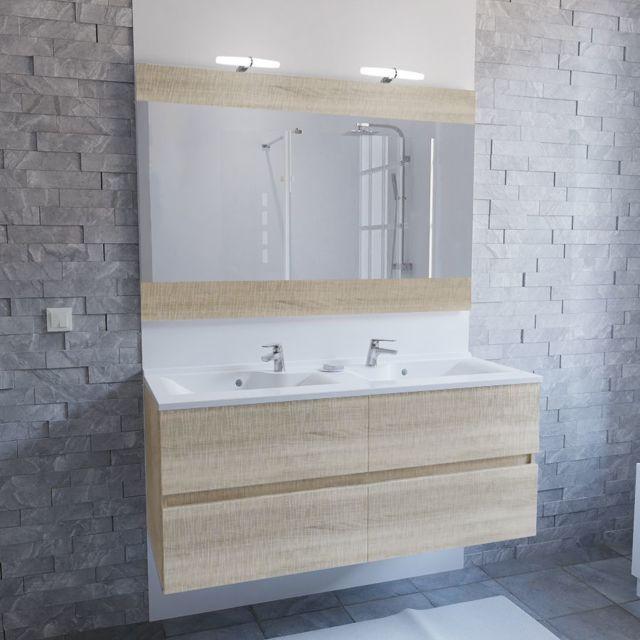 Meuble salle de bain double vasque ROSALY 120 - Bois cambrian
